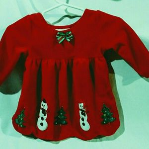 Bonnie Baby Girl Red Christmas Dress Size 3-6mos